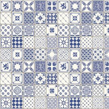 Панель декоративная матовая 2440х600х4 мм Голубая  плитка PM 003 (кухонный фартук МДФ)